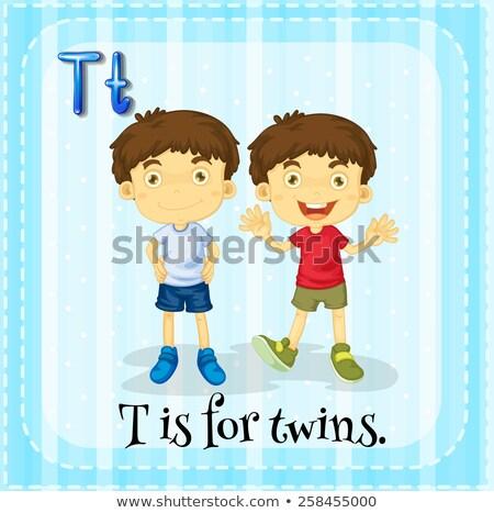письмо которое я идентичный близнец иллюстрация девушки детей Сток-фото © bluering