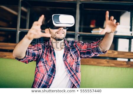 бородатый человека виртуальный реальность Сток-фото © deandrobot