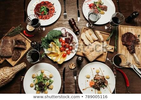 Verschillend voedsel eettafel illustratie achtergrond kunst Stockfoto © bluering
