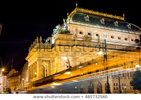 national theatre in prague through traffic light trails view fr stock photo © kirill_m