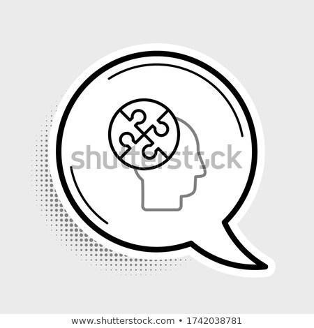 colored puzzle speech bubbles and people heads stock photo © adrian_n