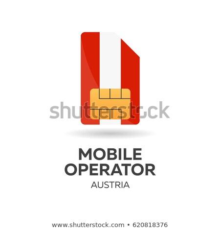 austria mobile operator sim card with flag vector illustration stock photo © leo_edition