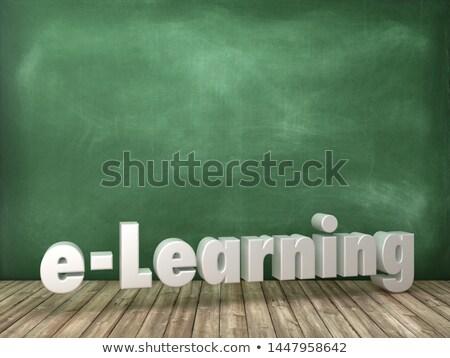 distanza · apprendimento · doodle · illustrazione · verde · lavagna - foto d'archivio © tashatuvango