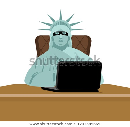 American hacker. computer thief from USA. Statue of Liberty in m Stock photo © popaukropa