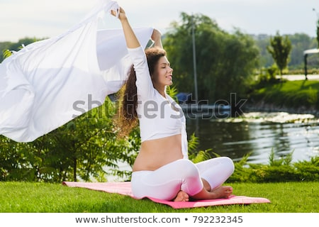 pregnat woman on meadow Stock photo © phbcz