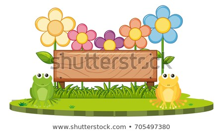 wooden board with two frogs in garden stock photo © bluering