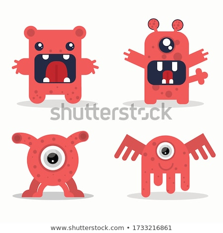 Stock photo: Good red furry monsters
