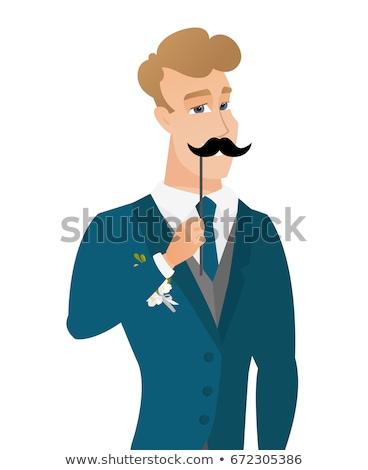 Derűs vőlegény hamisítvány bajusz fiatal kaukázusi Stock fotó © RAStudio