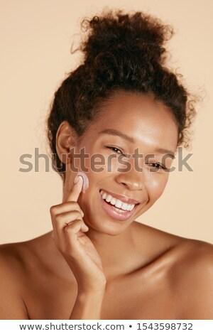 vista · lateral · jóvenes · mujer · atractiva · albornoz · potable · café - foto stock © lightfieldstudios