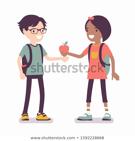 two boy eating apples Stock photo © IS2