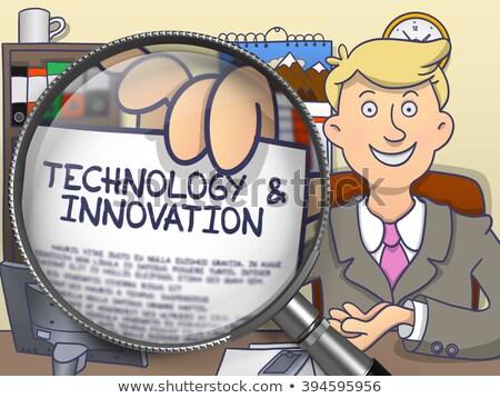 Uitrusting beheer vergrootglas doodle ontwerp man Stockfoto © tashatuvango