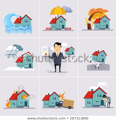 Property insurance against natural disasters. Earthquake tree fell on house Stock photo © orensila