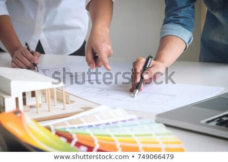 empresário · trabalhando · diagrama · secretária · imagem · escritório - foto stock © stevanovicigor