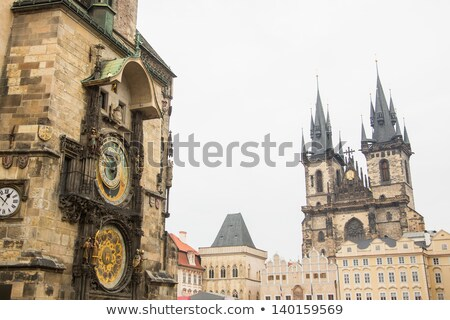 Famous Astronomical Clock Orloj and Church of our Lady Tyn in Pr Stock photo © vladacanon