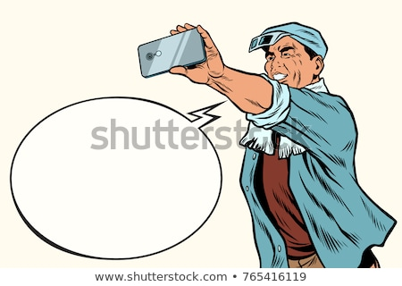 アジア 工場労働者 撮影 スマートフォン ポップアート レトロな ストックフォト © studiostoks