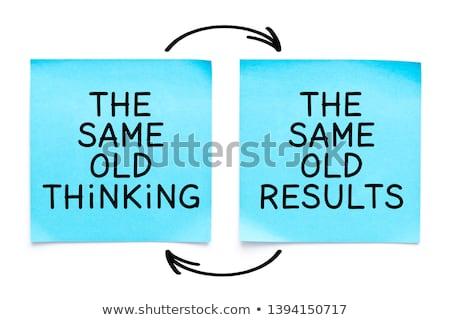 Stockfoto: Oude · denken · resultaten · sticky · note · geschreven · Geel