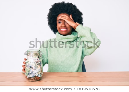 yorgun · genç · Afrika · kadın · oturma · tablo - stok fotoğraf © deandrobot
