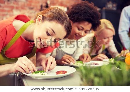 Boldog nők főzés edények osztály barátság Stock fotó © dolgachov