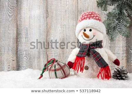 Stock fotó: Christmas Snowman Toy Decor And Fir Tree Branch