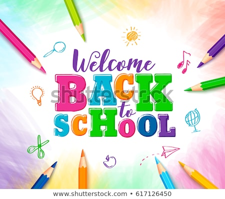Back to school design with colorful pencil, typography lettering and other School items on black cha Stock photo © articular