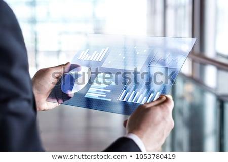 Zakenman transparant tablet hologram business realiteit Stockfoto © dolgachov
