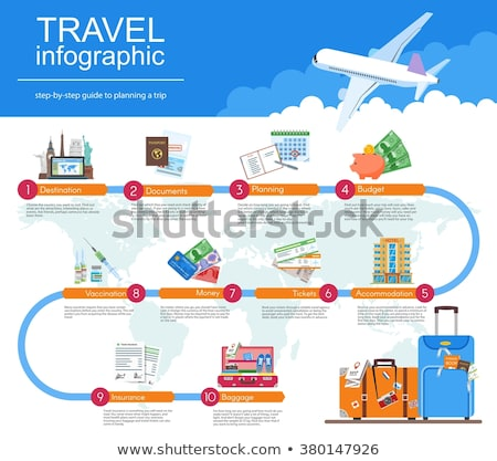 Travel guide infographic with vacation tour locations and items. Tourism with fast traveling of the  Stock photo © Linetale