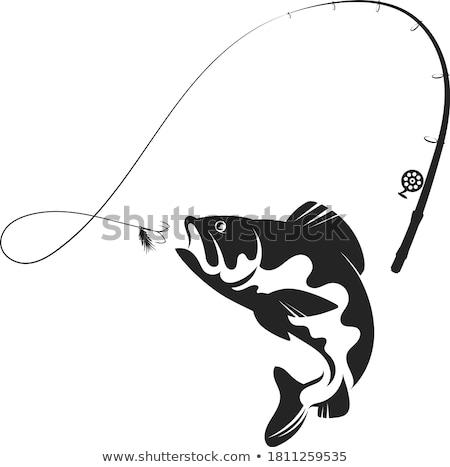 Pescador vara de pesca peixe vetor esboço em pé Foto stock © robuart
