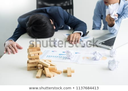 Depressed failure and tired businessman late sad and solving pro Stock photo © snowing