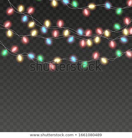 Christmas Illustration with Glowing Colorful Lights Garland and 3d Typography Element for Greeting C Stock photo © articular