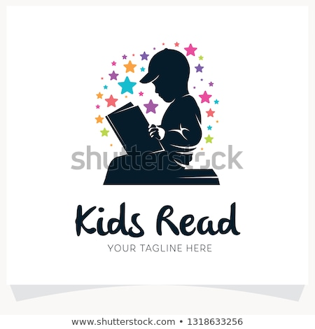 Paper template with boys reading books Stock photo © colematt