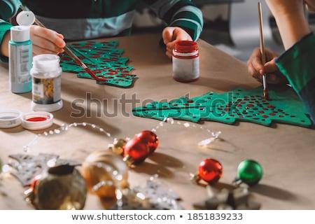 happy creative kids making crafts at home Stock photo © dolgachov