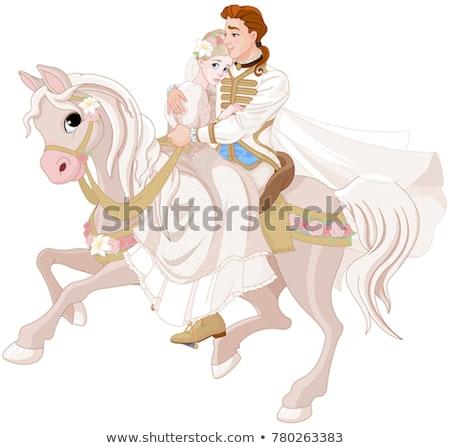 Romantyczny konia bajki wektora bajki dziecinny Zdjęcia stock © robuart