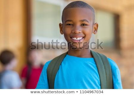 Portre sevimli erkek sırt çantası dışında okul Stok fotoğraf © Lopolo