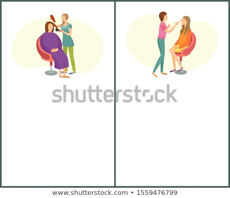 Hair Styling and Makeup Posters Set Text Spa Salon Stock photo © robuart