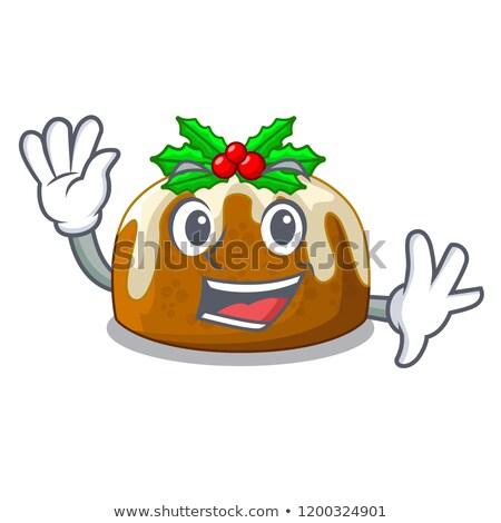 Boldog karácsony puding rajzfilmfigura integet izolált Stock fotó © hittoon