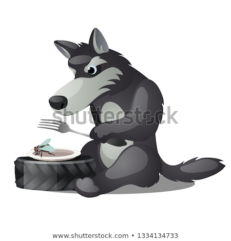 Hungry animated grey wolf with fork and empty plate with fly isolated on white background. Vector ca Stock photo © Lady-Luck