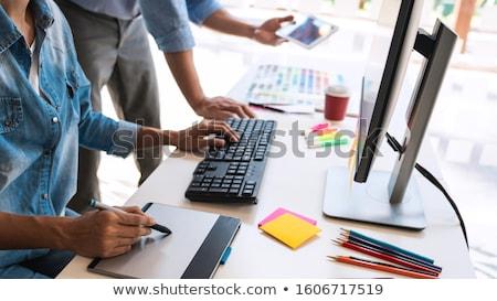 Designer grafikus kreatív kreativitás együtt dolgozni grafika Stock fotó © snowing
