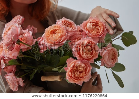 Bukiet różowy róż Wazon dziewczyna tatuaż Zdjęcia stock © artjazz