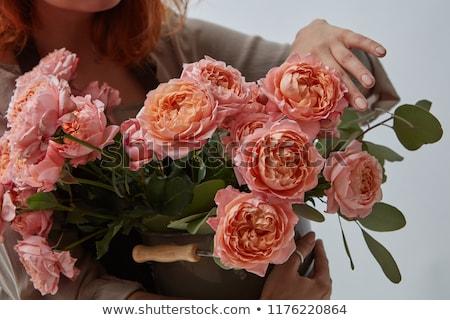 Photo stock: Bouquet · rose · roses · vase · fille · tatouage
