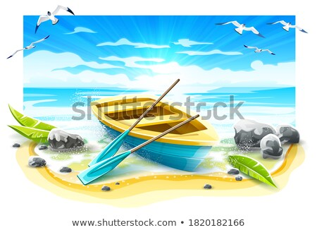 Fishing boat with paddles on paradise island Stock photo © LoopAll