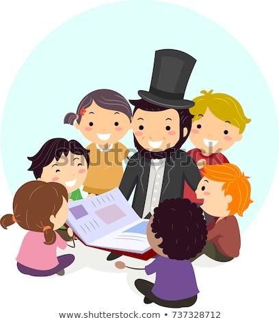 stickman abraham lincoln book kids illustration stock photo © lenm