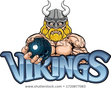 Viking bowling spor maskot savaşçı gladyatör Stok fotoğraf © Krisdog