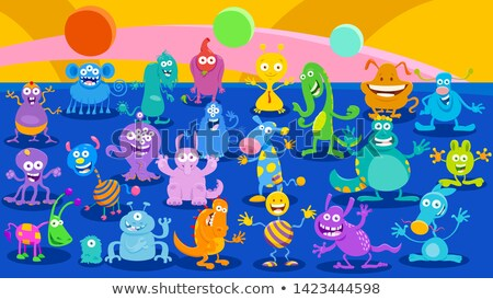 Cartoon Monster or Alien Fantasy huge group Stock photo © izakowski