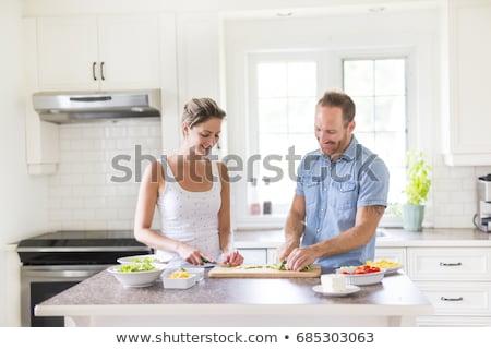mosolyog · szakács · befejezés · gyümölcssaláta · konyha · étel - stock fotó © lopolo