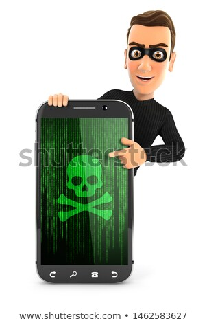 3d thief pointing to hacked smartphone Stock photo © 3dmask