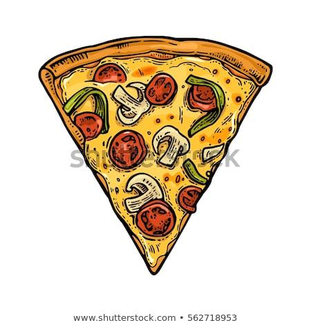 cor · vegetariano · italiano · fatia · pizza · vintage - foto stock © pikepicture