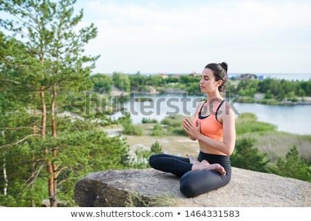 Komoly higgadt fiatal lány ül lótusz pozició Stock fotó © pressmaster