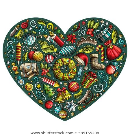 set of new year cartoon doodle objects heart composition stock photo © balabolka