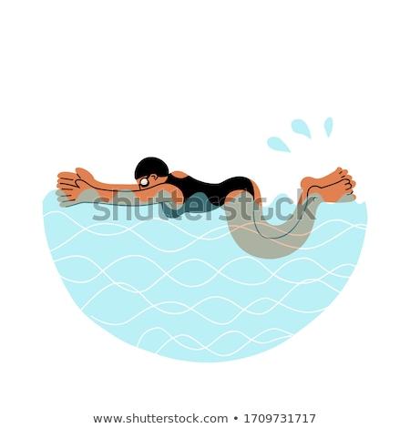 Breaststroke Female in Water Vector Illustration Stock photo © robuart