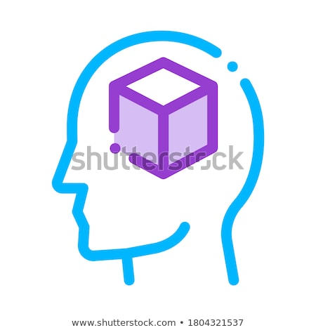 cube figure in man silhouette mind vector icon stock photo © pikepicture